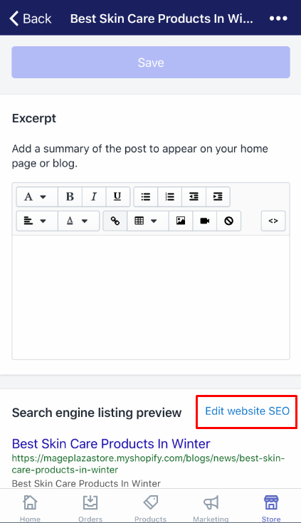 how to edit the search engine listing for a blog post
