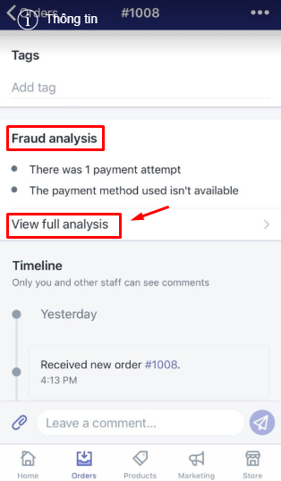 To view the fraud analysis for an order on Iphone 3
