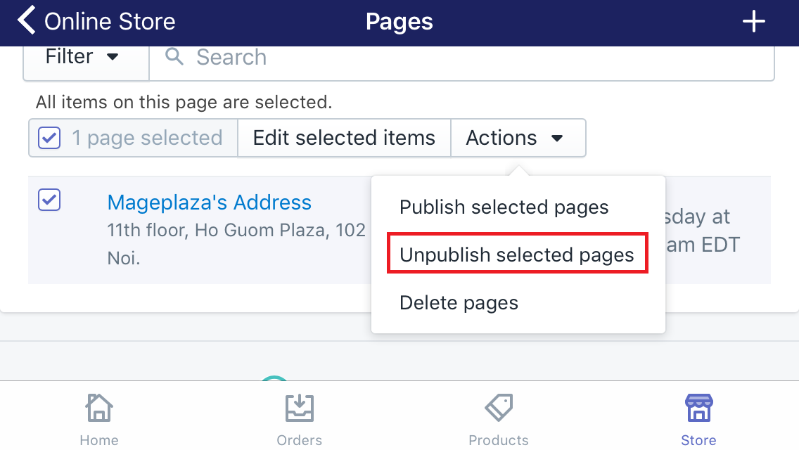 How to unpublish web pages in bulk