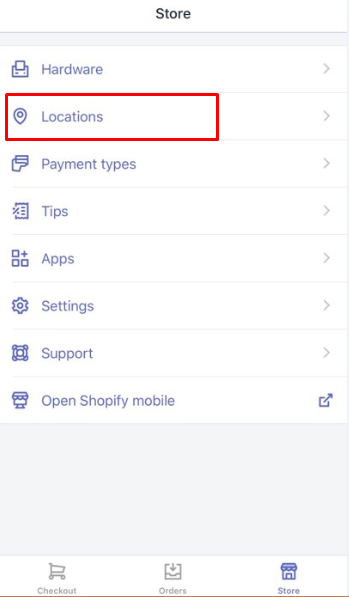 how to select a Shopify POS location