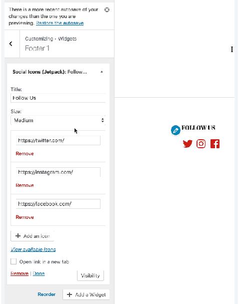 install social media icons widget