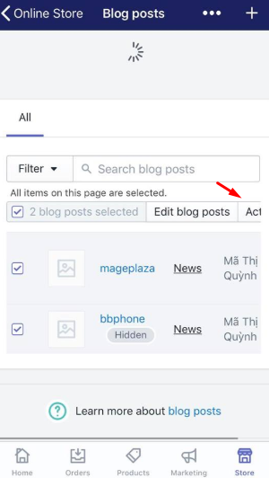 To publish blog posts in bulk on iPhone 5