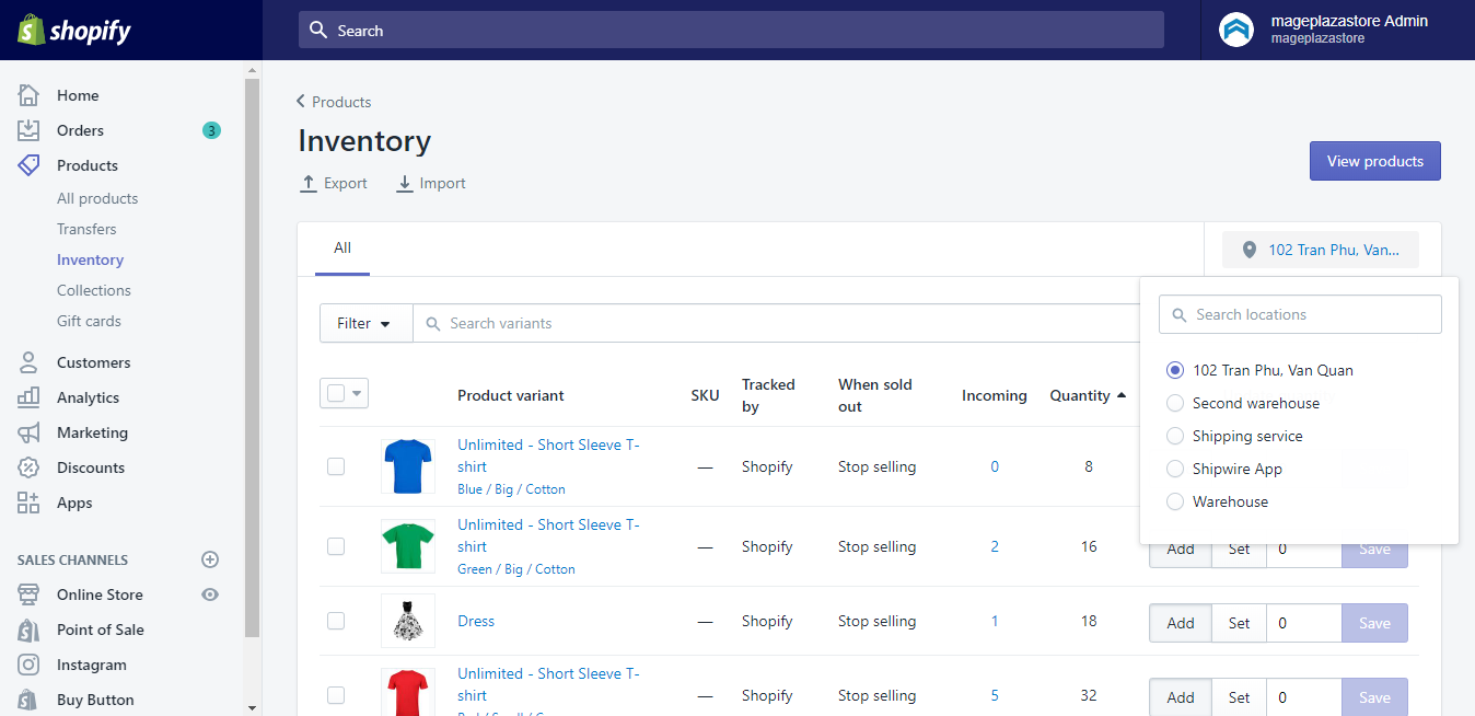 How to change Inventory Quantities at a location for selected products on Shopify