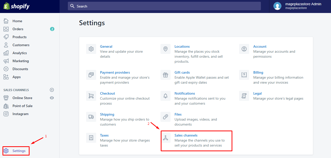 To remove an online sales channel from your Shopify admin on Desktop 1