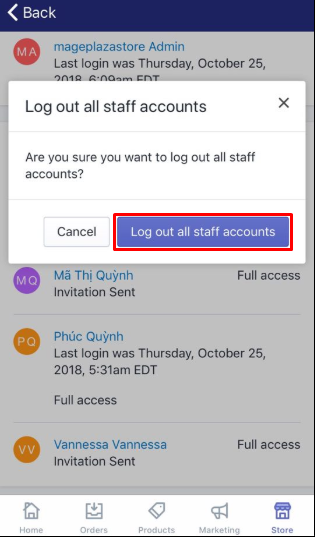 To force a staff account logout on iPhone 4