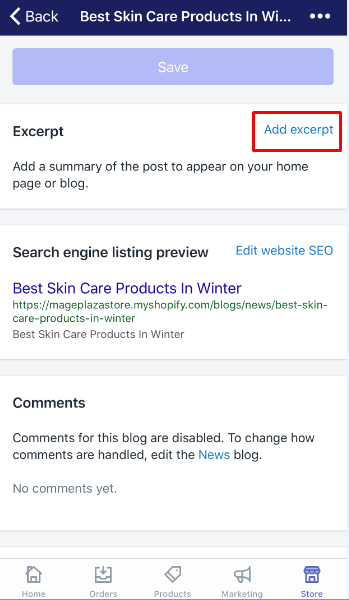 how to display an excerpt from a blog post