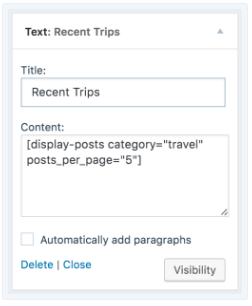 add Recent Posts widget