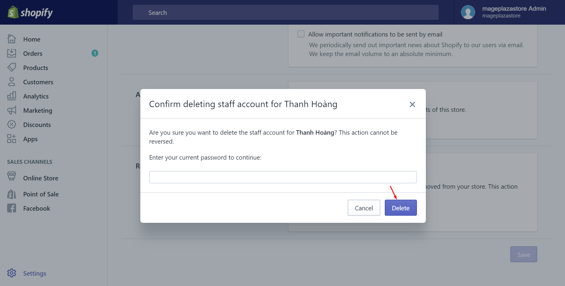 How to delete a staff account