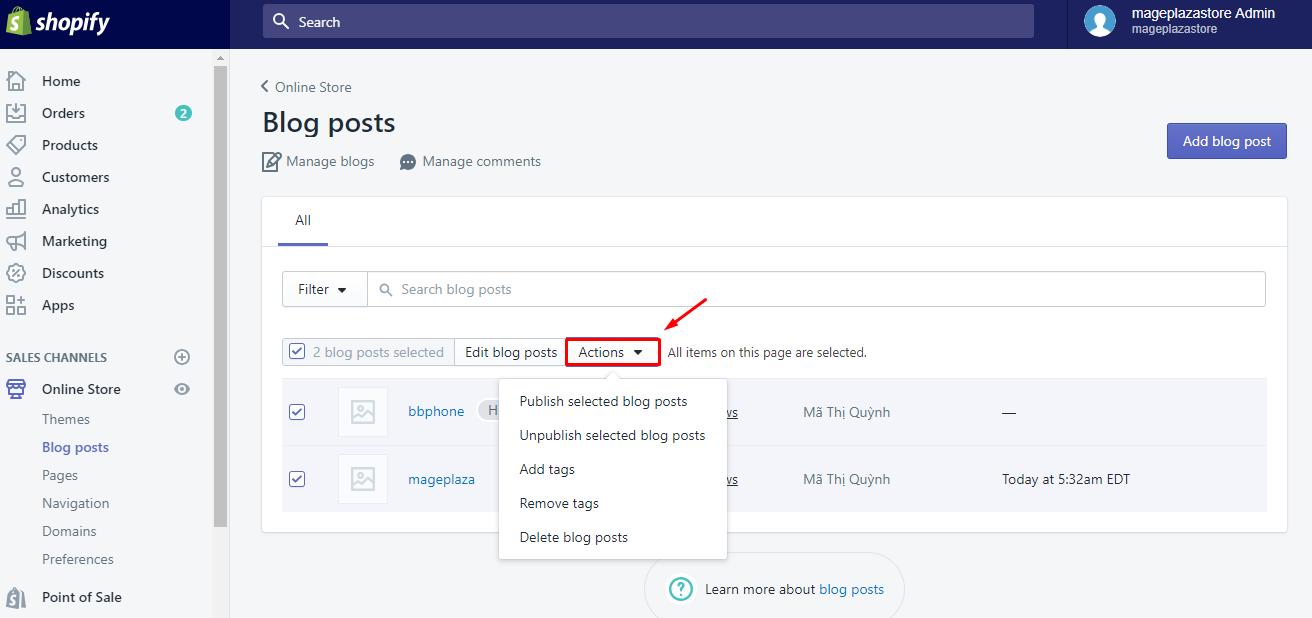 To publish blog posts in bulk on Desktop 3