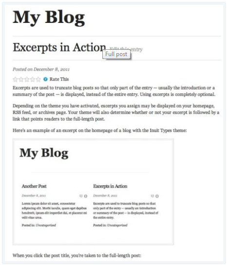 generate excerpts on Wordpress