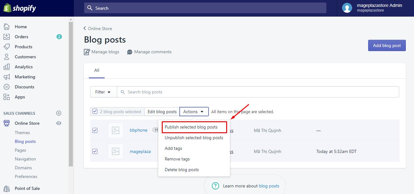 To publish blog posts in bulk on Desktop 4