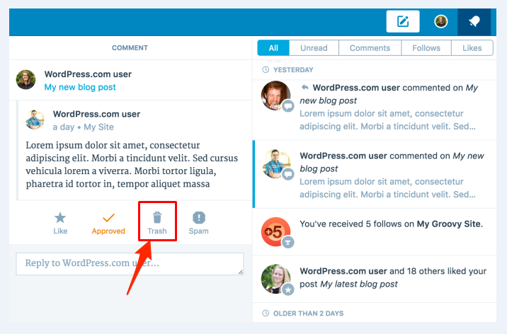 how to move a post page or comment to the trash folder