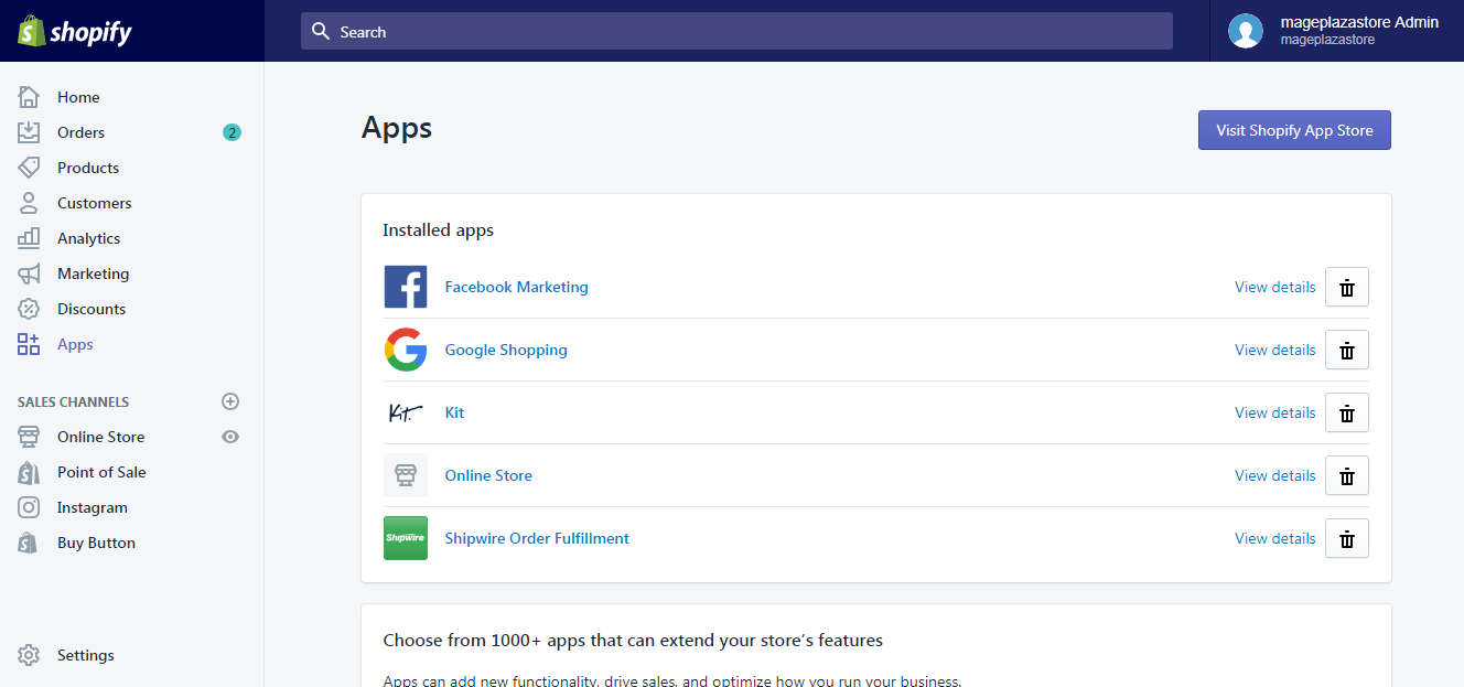 To uninstall an app in Shopify