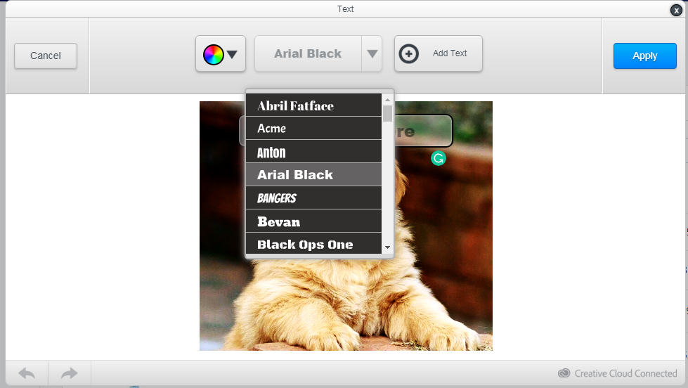 Select a font and color 1