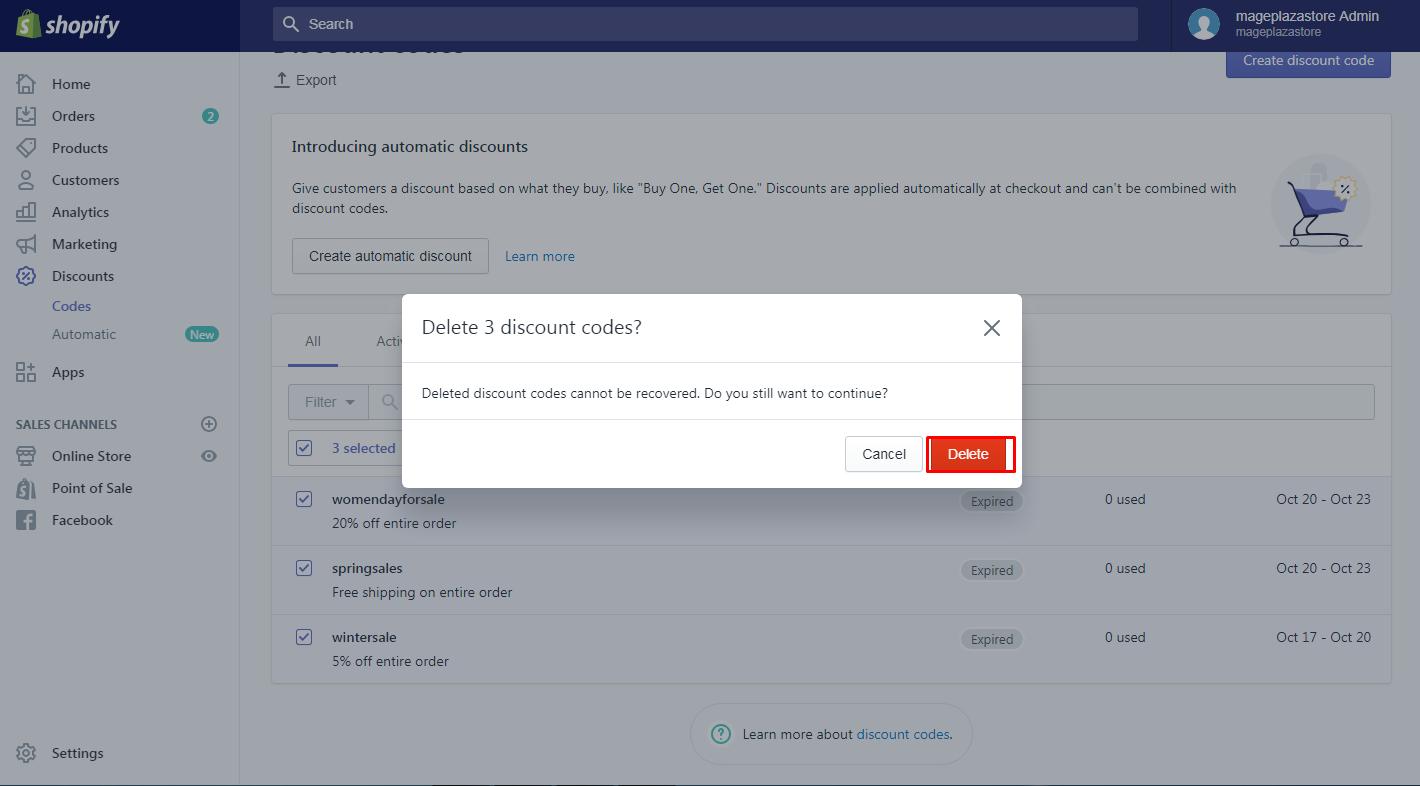 how to delete discounts