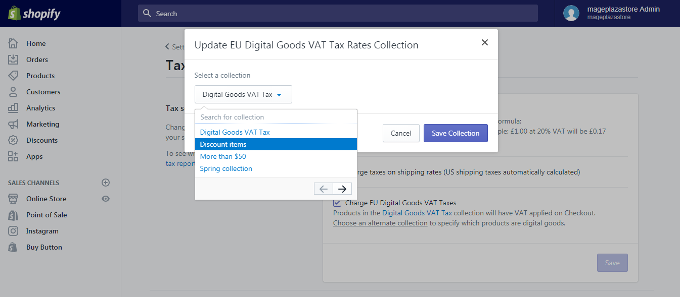 How to apply the digital goods VAT rates to a different collection