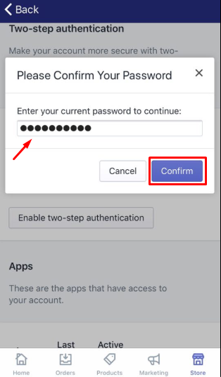How to enable two-step authentication for a staff account on iPhone 5