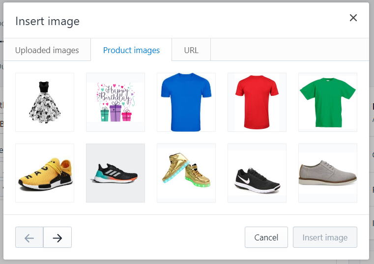 ow to Insert Image from Product Images with the rich text editor
