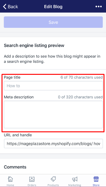 how to edit the search engine listing for a blog