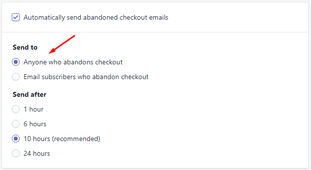 How to enable automatic abandoned checkout recovery emails 3