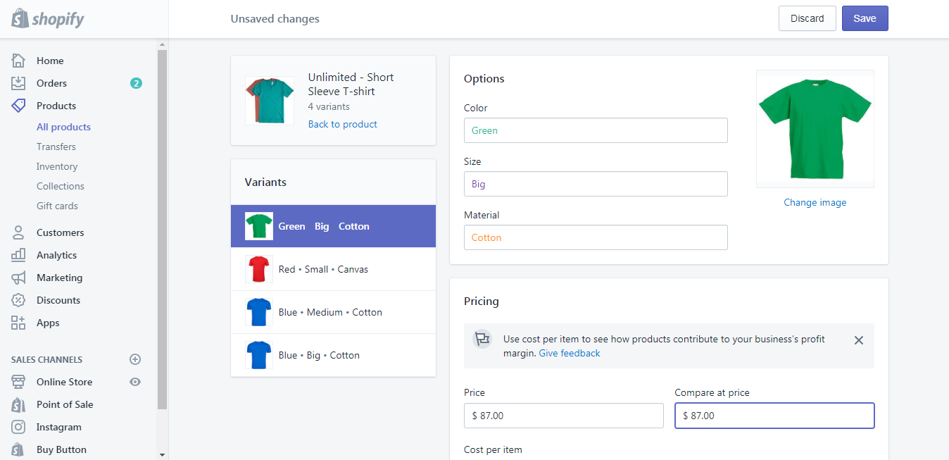 set a compare at price on a variant
