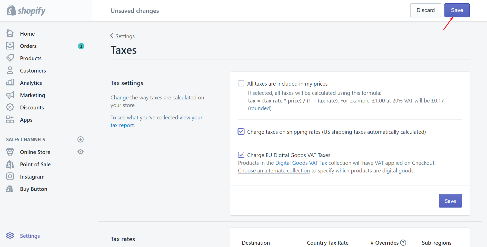 How to charge taxes on shipping rates