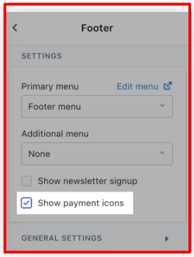 How to enable payment icons in your footer in Shopify