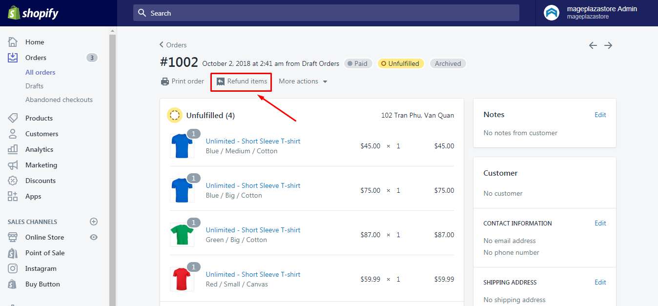 How to refund an entire order on Shopify