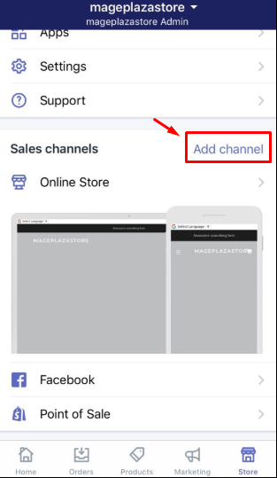 To add an online sales channels to your Shopify admin on iPhone 2
