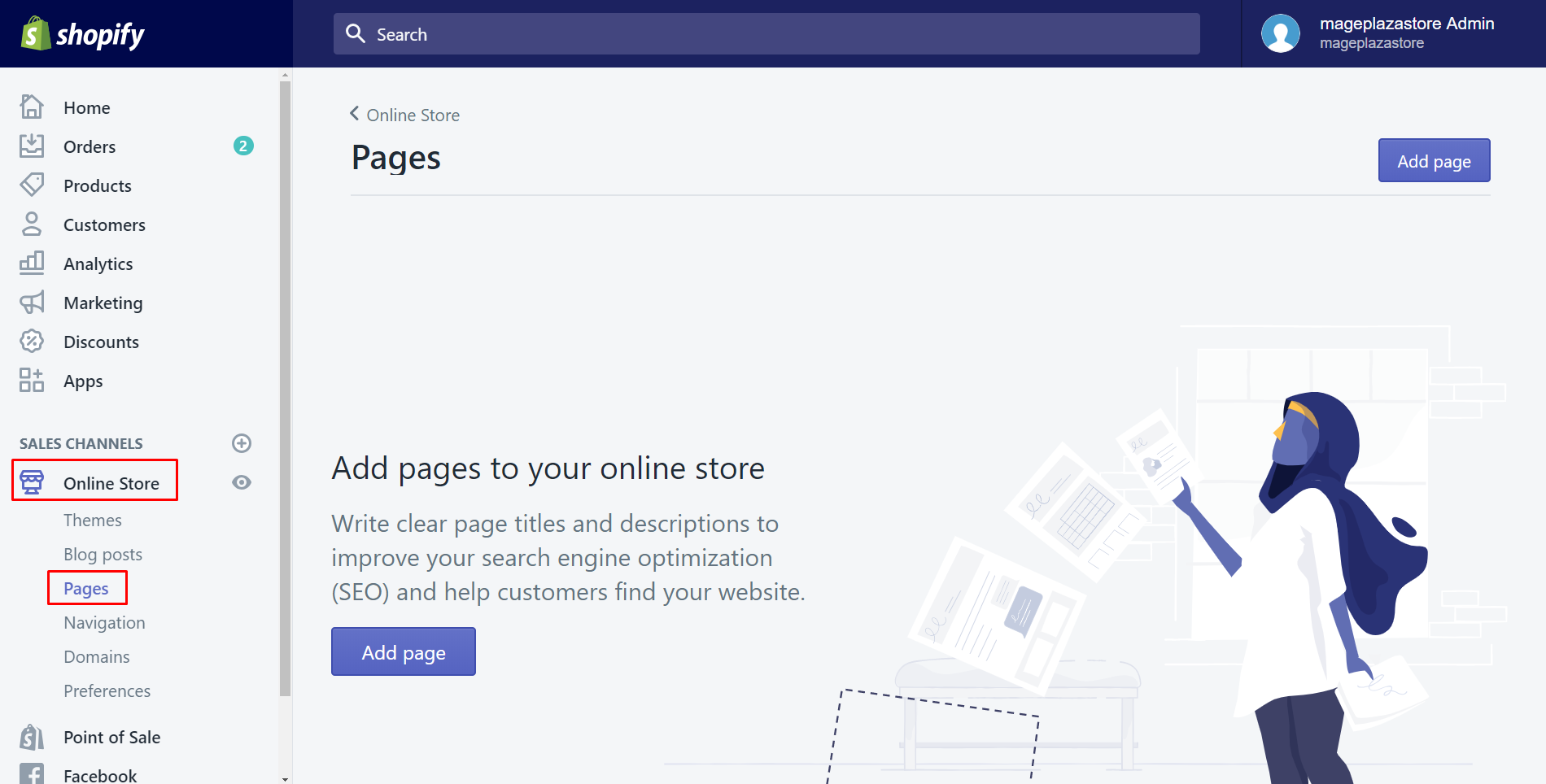 How to add a new webpage to your online store
