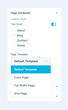 how to set page attributes on wordpress