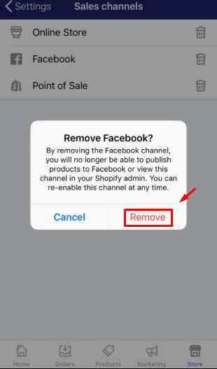 To remove an online sales channel from your Shopify admin on iPhone 4