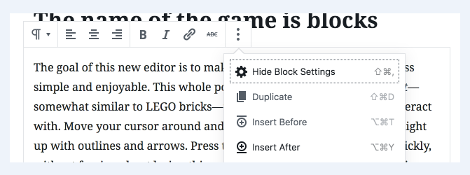how to insert a block on WordPress Editor