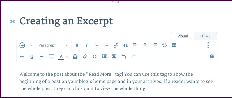 how to insert and customize the More Tag on a post