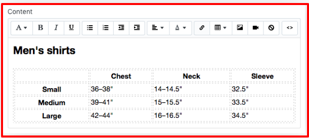 How to generate a size chart snippet in Shopify