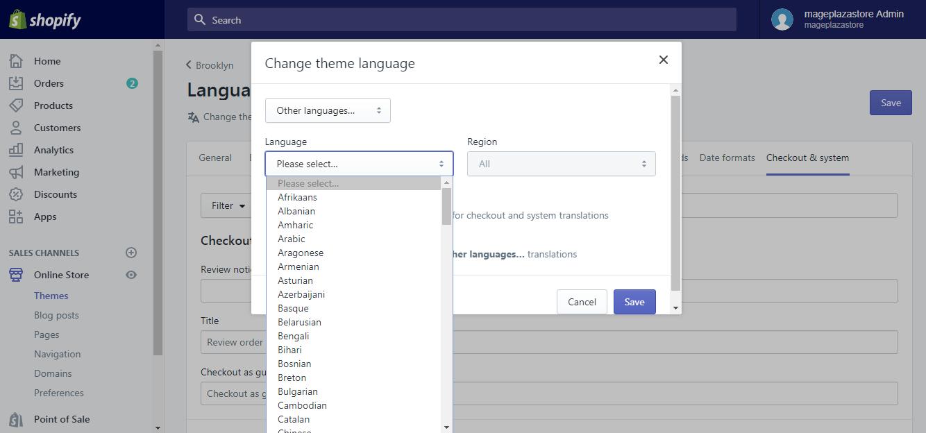 create a new checkout language