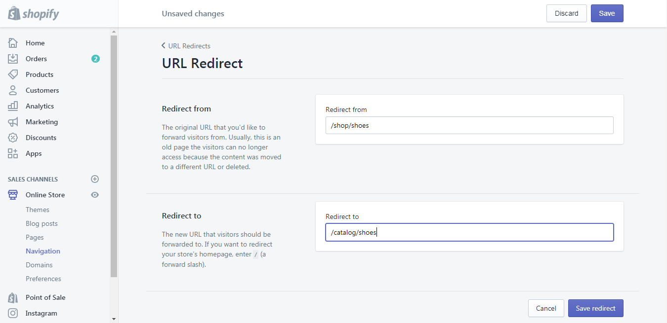 create a URL redirect